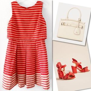 Just...Taylor Dresses - 🆕 JUST TAYLOR RED STRIPED PLEATED DRESS SZ 14
